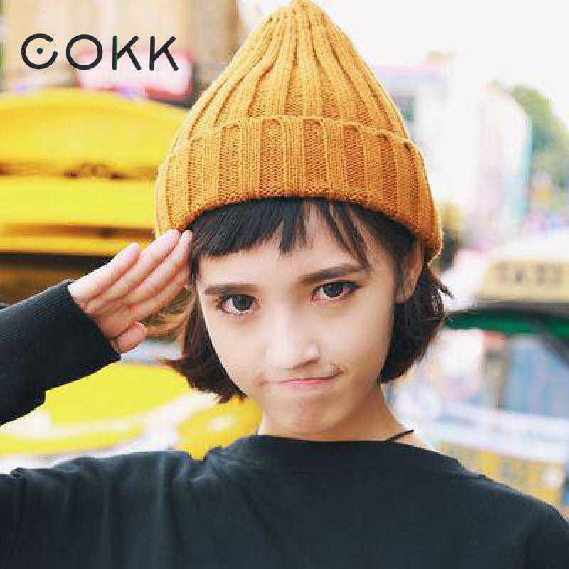 COKK Women Hat   Beanie   Bonnet Stretch Hats For Women Ladies Autumn Winter   Beanie   Solid Color Head Cap For Girls Chapeau Femme New