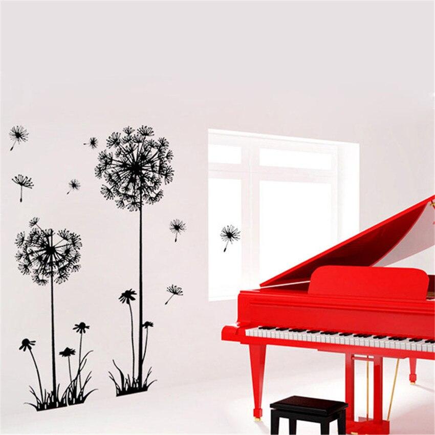 Обои Стикеры Черный Творческий ПВХ цветка одуванчика завод дерево большой Съемный Главная Наклейка на стену S обои для Гостиная B #