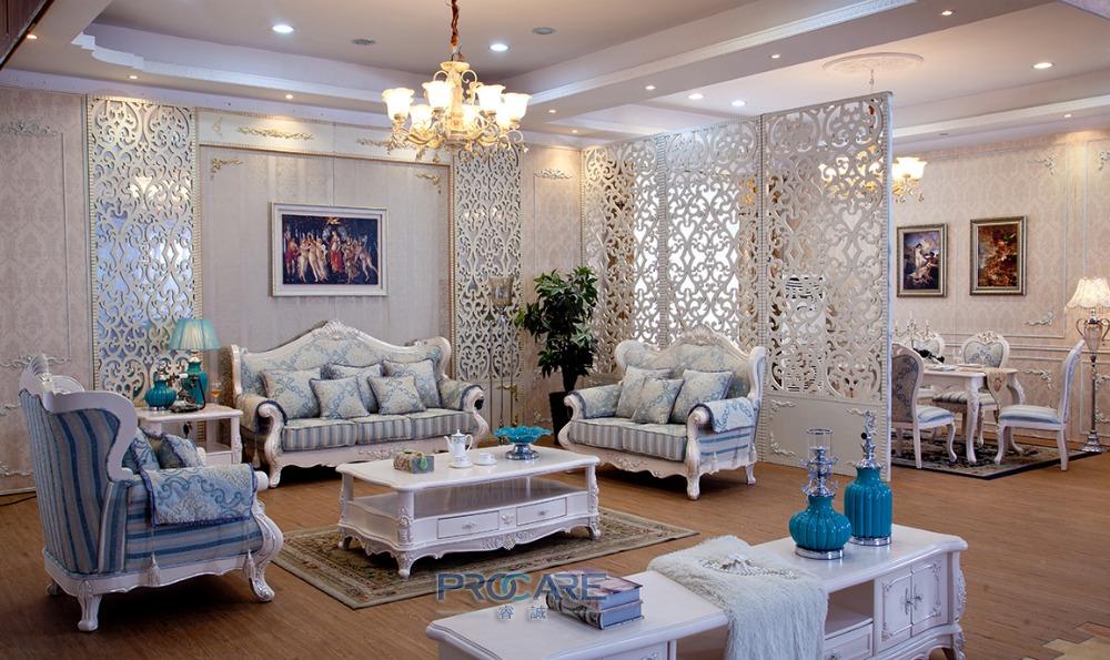 Trkischen Blauen Und Weissen Stoff Sofa Set Massivholz Mbel Moderne Wohnzimmer Sofas Sets