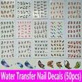 50 hojas 1 Unidades Patrón Mixto Nail Art Calcomanías de Agua Accesorios de Decoración de Uñas de Transferencia de Agua Pegatinas de Uñas Herramientas 50 unids Gran paquete de
