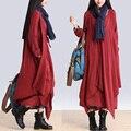 BOHO Manga Longa Solto Vestido de Linho de Algodão das Mulheres Designers de Desequilíbrio Em Camadas Falso de Duas Peças Vestido Maxi Cigana Blusa Shirtdress
