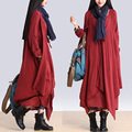 BOHO de Manga Larga Suelta Vestido de Diseñadores de Desequilibrio En Capas de Algodón de Lino de Las Mujeres Fake Dos Piezas Vestido Maxi Blusa Gitana Shirtdress