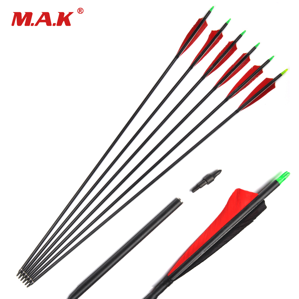 6/12/24 Pcs 33.5 Inches Mixed Carbon Arrow with Turkey Feather Spine 500 For Recurve Bow Archery Hunting hunting archery 12 24pc high quality 30 inch carbon arrow blue turkey feather 20 50 lb outdoor sports