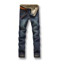 גברים ג 'ינס 2017 גברים מכנסיים חדשים ישר אופנה ג' ינס מזדמן רזה מכנסיים ג 'ינס גברים מותג גברים מכנסיים ג' ינס חם בתוספת כותנה גודל מכירה