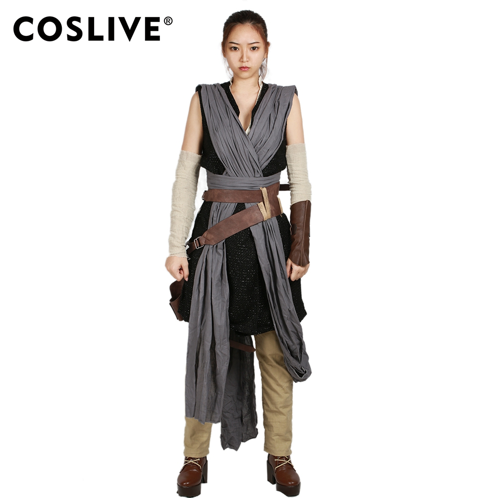 Coslive New Updated Vision Star Wars 8 Rey Cosplay Costume Star Wars 8 The Last Jedi Rey Battle Suit Women Full Set Costume