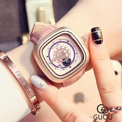 Lady GUOU Brand Female Fashion Dress Watches Rose Gold Leather Square watch women Analog Quartz Wrist Watch Relogio Feminino hot sale soxy fashion elegant women watches analog lady s bracelet quartz watch luxury gold wrist watches hours relogio feminino