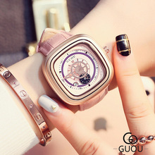 Lady GUOU Brand Female Fashion Dress Watches Rose Gold Leather Square watch women Analog Quartz Wrist Watch Relogio Feminino цена в Москве и Питере