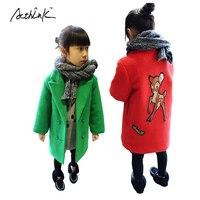 ActhInK New Kids Mùa Đông Nai Trench Coat cho nữ Hiệu nhung Phim Hoạt Hình Nai Sừng Tấm Mùa Xuân Dài Gió Jacket Coat cho Cô Gái Outwear, MC002