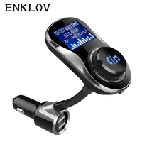 ENKLOV BC26 Black Carkit Calls FM Transmitter Car Charger Car Bluetooth Large Screen Car Handsfree Bluetooth Car Kit Dual Usb