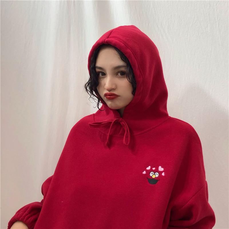 Hoodies Women Pockets Embroidered Cartoon Trendy Cute Female Loose BFplus Velvet Womens Long Sleeve All-match Lovely Streetwear 16
