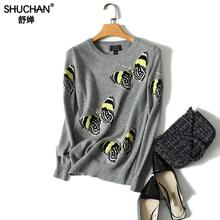 Shuchan Embroidery Womens Sweater Pullover Butterfly Pattern Printed 100% Cashmere Sweater O-neck Autumn Knitted Female цена и фото