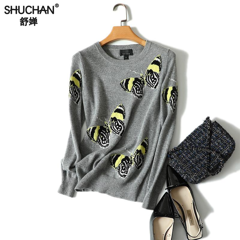 Shuchan Embroidery Womens Sweater Pullover Butterfly Pattern Printed 100% Cashmere Sweater O neck Autumn Knitted Female
