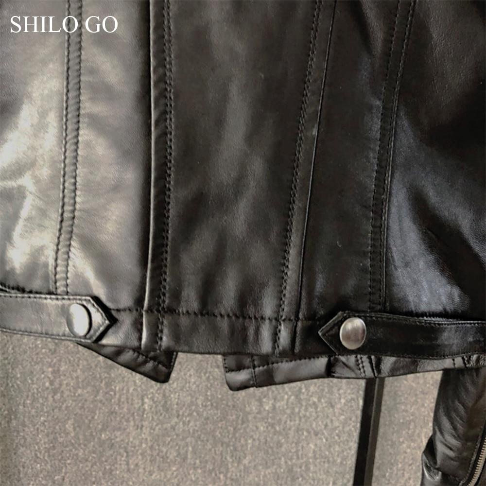 SHILO GO Leather Jacket Womens Spring Fashion sheepskin genuine leather Coat lapel collar front zipper causal locomotive jacket