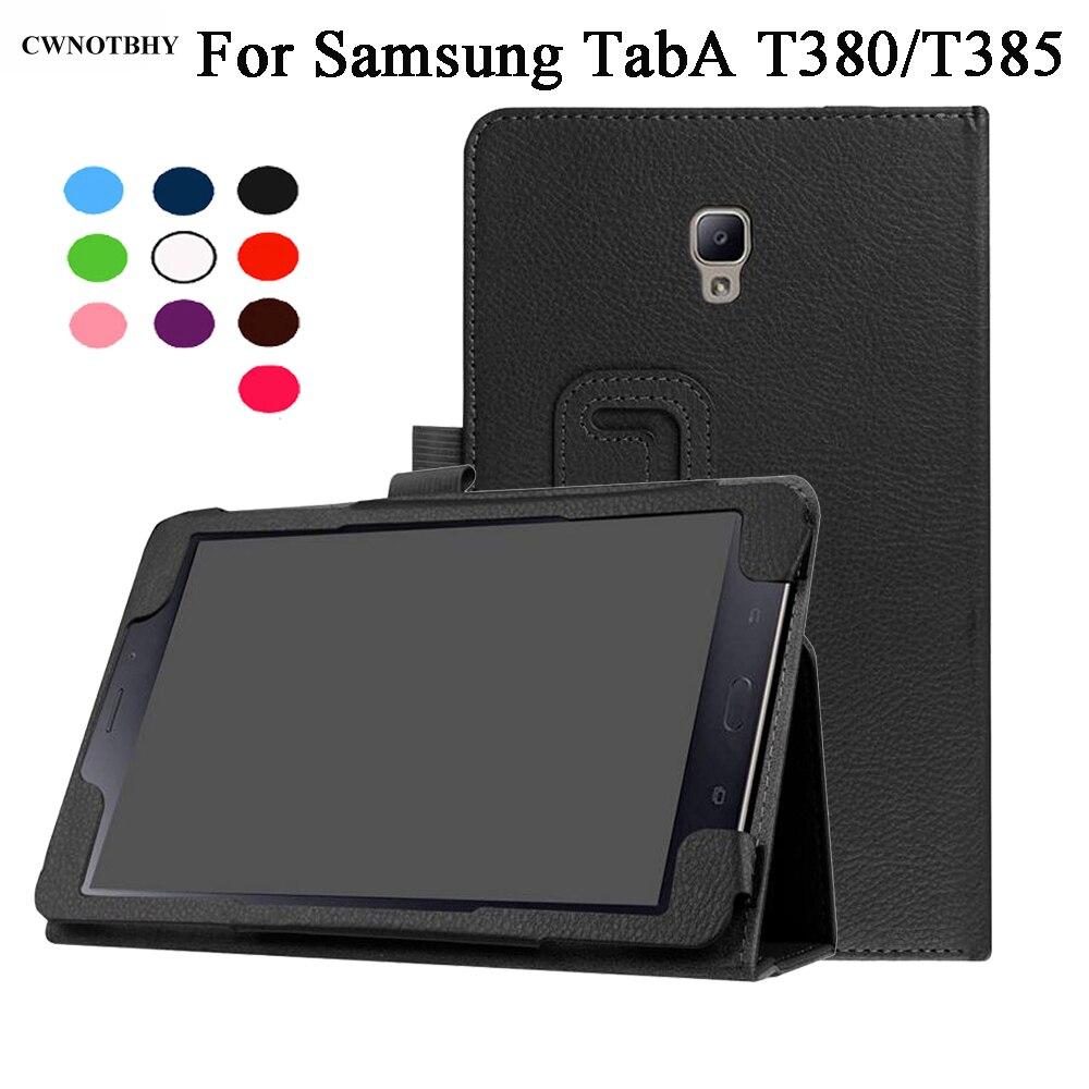 Folio PU cubierta de cuero para Samsung Galaxy Tab A 8,0 2017 T380 T385 SM-T385 caso del soporte Sleep Wake Up función + pluma
