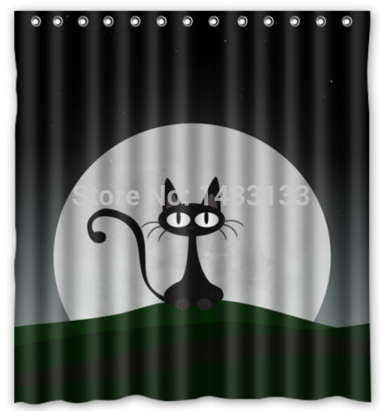 Online Buy Wholesale black cat shower curtain from China black cat ...