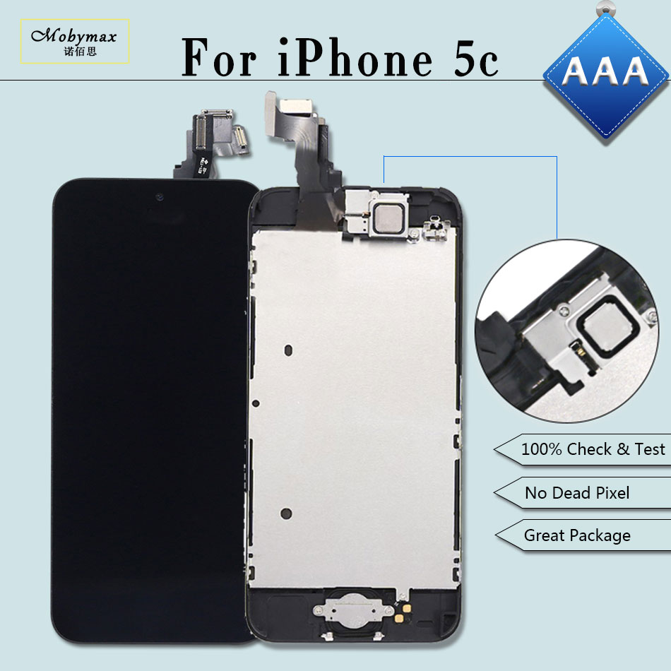Mobymax 5PCS LCD Ecran Pantalla Module for iPhone 5C A1456 A1507 Touch Screen Digitizer Full Assembly+Home Button+Front Camera