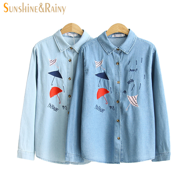 7cda59f3870 autumn spring denim Umbrella embroidered shirt women funny design oblique  women blouses jean shirt ladies denim
