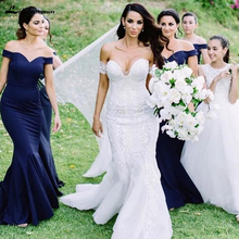 0ef24dde4465 Arabic Bridesmaids Dresses Off Shoulder Royal Blue Mermaid Maid of the Honor  Wedding Guest Dress vestido