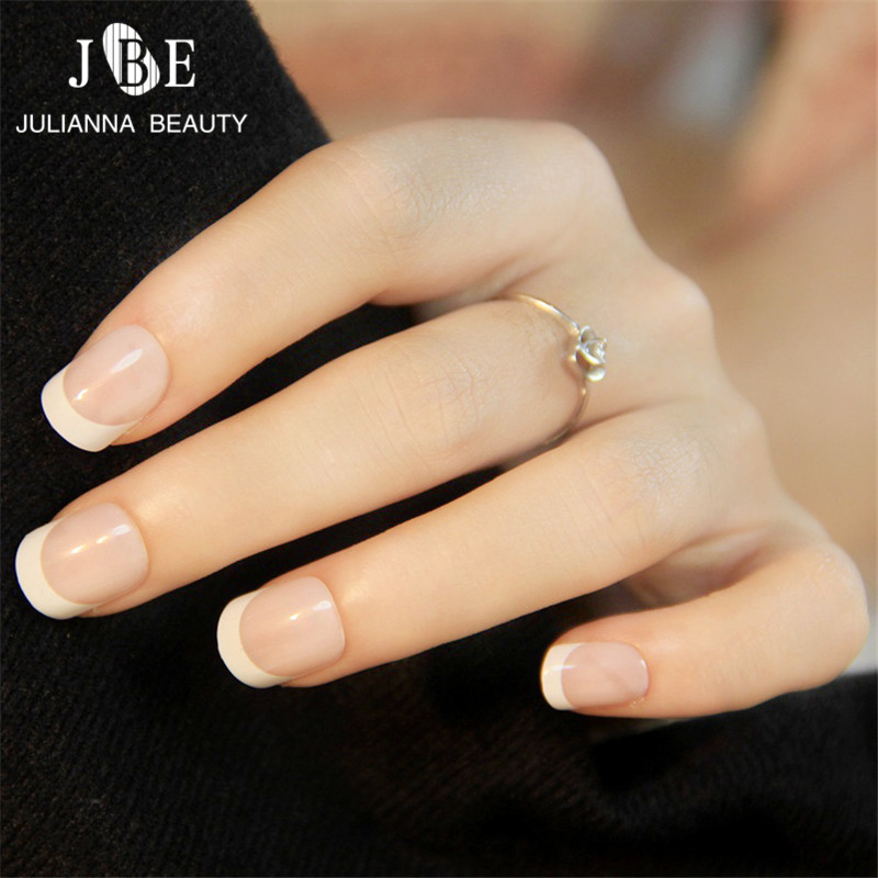24 PCS French Nail Tips New Girls/Bride ABS Decorated False Nail ...