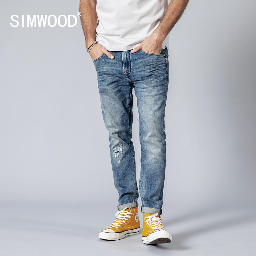 SIMWOOD 2019 Spring Summer New Hole Jeans Fashion Dark Washed Slim Fit Fashion Hip Hop Streetwear 180338