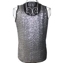 Silver sequins spherical collar Singer stage sequins males's vest males pullover model roupas masculinas horny tank high camisetas regatas