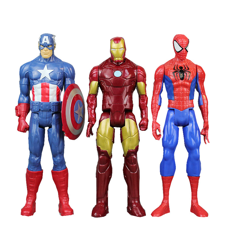 30cm Marvel Avengers Infinity War Spiderman Iron Man American Captain Thor Action Figure Black Widow Toy Boy Kid Collection цена