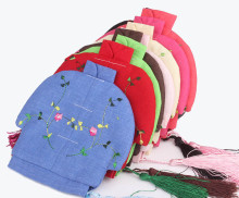 Personalized Jewelry Pouch Storage Zipper Linen Embroidered Tassel Gift Bags 50pcs/lot mix Free