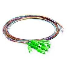QIALAN 1m 2m  12 Fibers SC/APC 9/125 Single Mode Color-Coded Fiber Optic Pigtail, Unjacketed