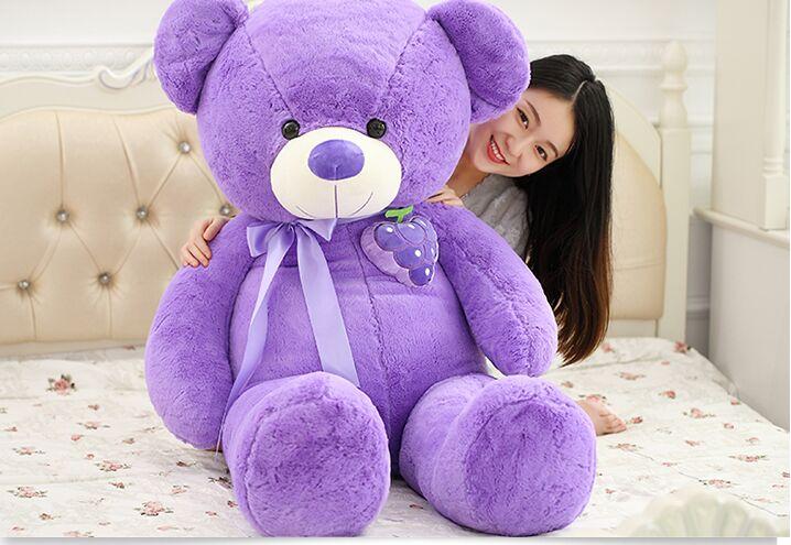 huge plush purple teddy bear toy stuffed grape bear doll pillow about 135cm new creative plush bear toy cute lying bow teddy bear doll gift about 50cm