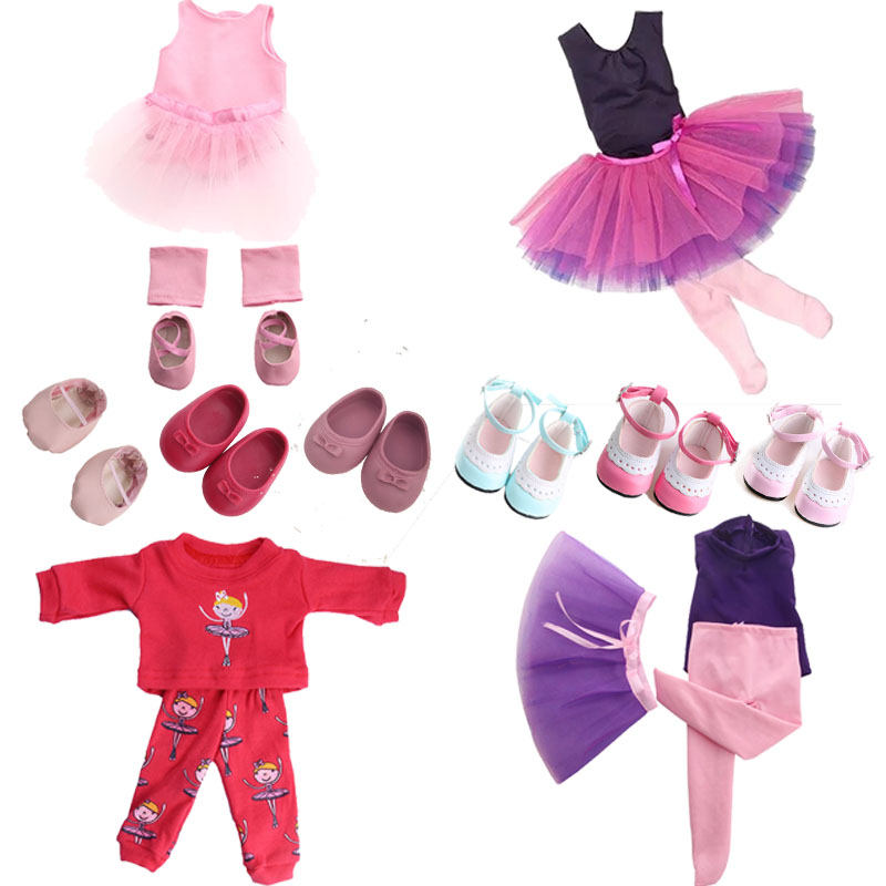 Ballet Suit(Tulle Skirt) And Pajamas With Ballet Patterns Fit 18 Inch American&43 CM Baby Doll Clothes Accessories,Girl's Toys