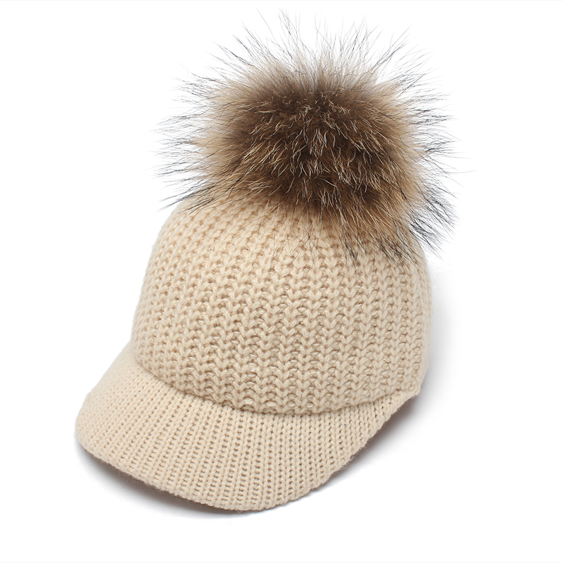 ROSELUOSI Autumn Winter Baseball Caps For Women Real Raccoon Fur Pom Poms Knitted Hat Casual Solid Color Bone Feminino new star spring cotton baby hat for 6 months 2 years with fluffy raccoon fox fur pom poms touca kids caps for boys and girls