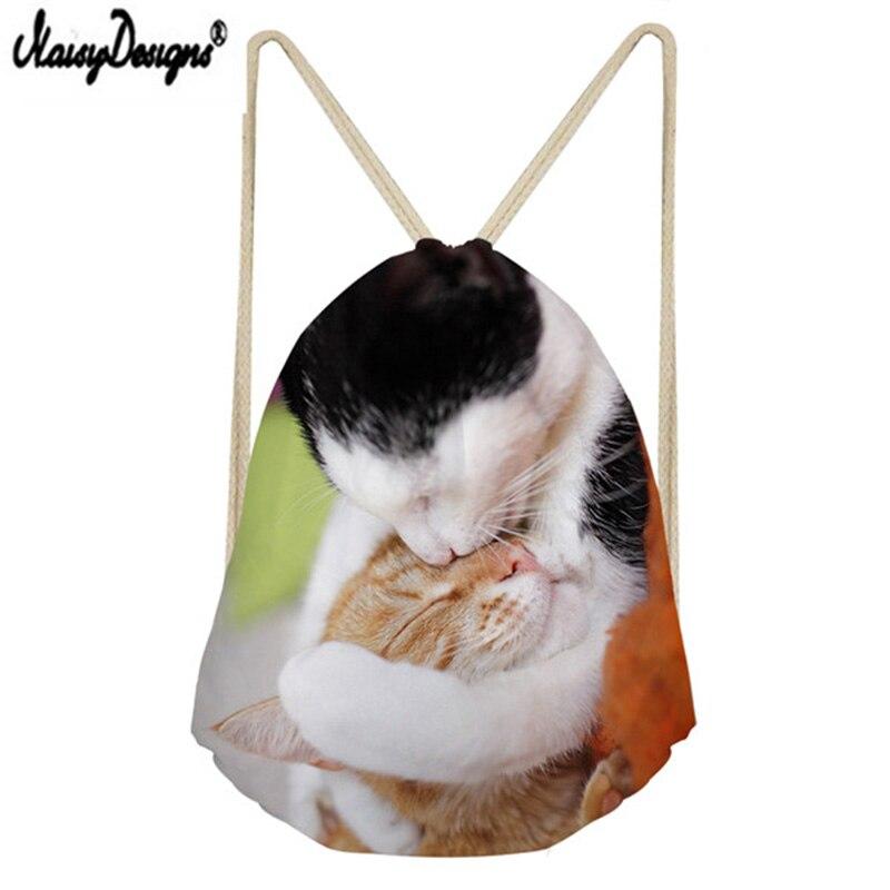 2019 Famous Brand Custom Lovers Drawstring Bag 3D Cute Cat Print Portable Beam Pocket Men s