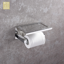 HIDEEP Stainless Steel Toilet Pape Towel Rack with Phone Shelf / Roll Paper Holder and Hook Storage Rack , Put Rack for Toilet