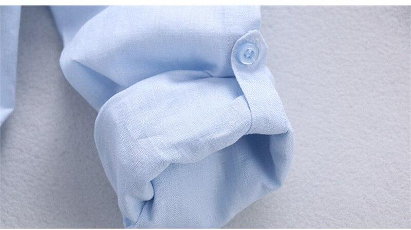 100% Lino Camisas azules de gama alta simples Hombres Lino de manga - Ropa de hombre - foto 5