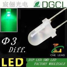 Baixo preço Pure cor Verde led diodo 3mm branco leitoso levou 3.0-3.5 v diodos 505-530nm DIP (CE & Rosh)