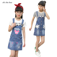 Girls Clothes Suit Cartoon Mickey Minnie Letter Printed Short-sleeved T-shirt Denim Strap Dress 3-11 Y Quality Clothing Hot Sale