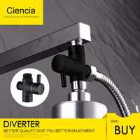 Free Shipping Ciencia Brass Black 3-way Diverter Valve for Handheld Shower Head or Bath Tap Switch Outlet T Valve T Adapter