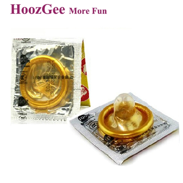 HoozGee Quality Gold Condom Sex Products Natural Latex Condoms for Man Adult Better Sex Toys Safer Contraception 10pcs/lot