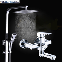 BOCHSBC Chrome Finish Shower Set Full Copper Faucet Shower in the Bathroom Rain Shower Set Nozzle Lifting Suit Top Spray Doccia