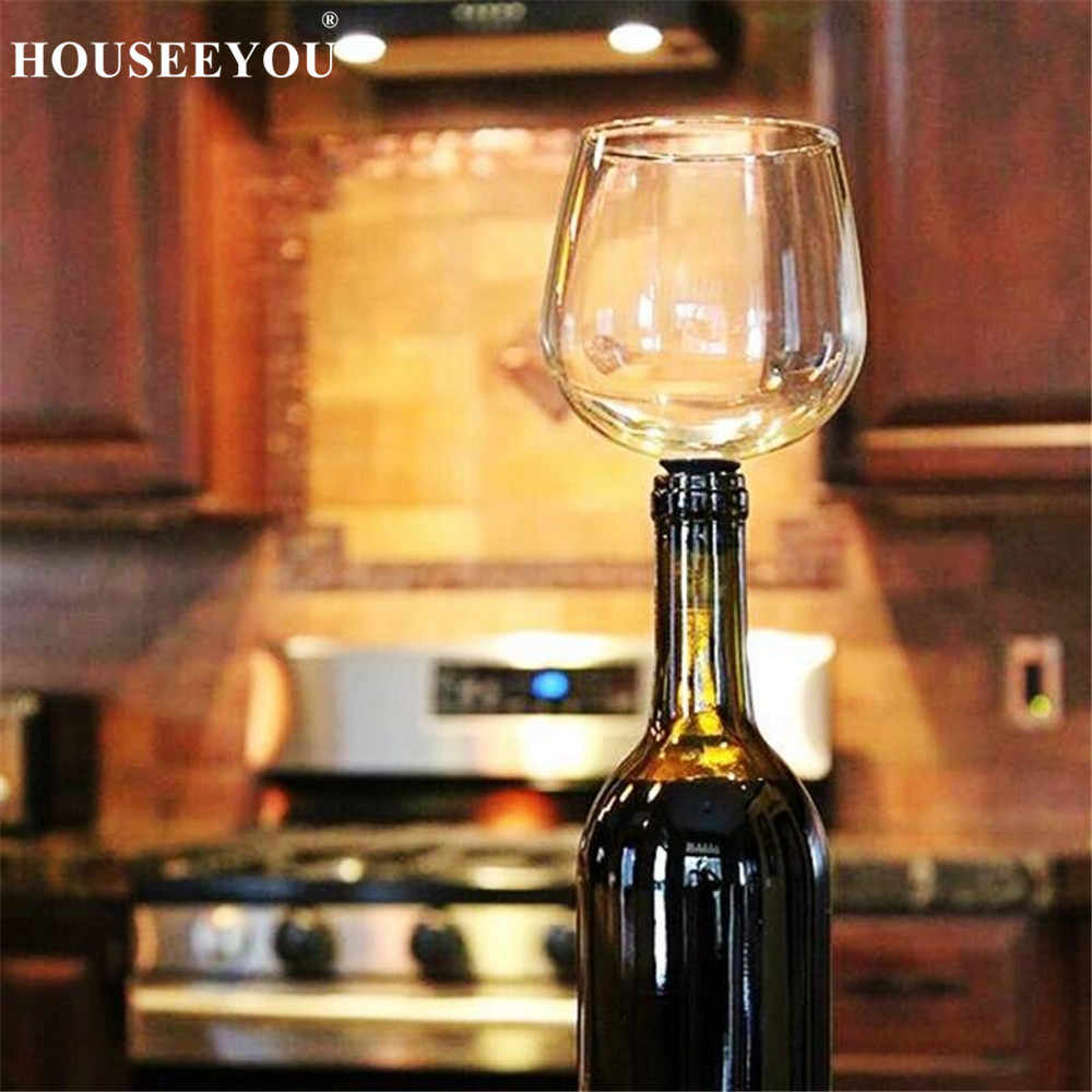 HOUSEEYOU الإبداعية النبيذ الأحمر زجاجات الشمبانيا المربعة كوب مع سيليكون الختم الشراب مباشرة من زجاجة كريستال نظارات كوكتيل القدح 260 مللي