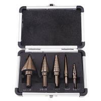5Pcs Metric Spiral Flute Pagoda Shape Hole Cutter HSS Steel Cone Drill Bit Set HSS Steel