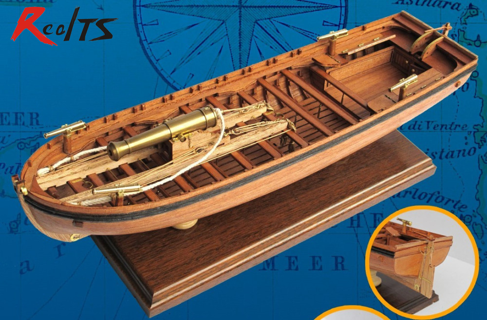 цены RealTS Classical wooden sailboat model 1/36 scale 42FT Armed GUNBOAT Europe Gunboat armed boat