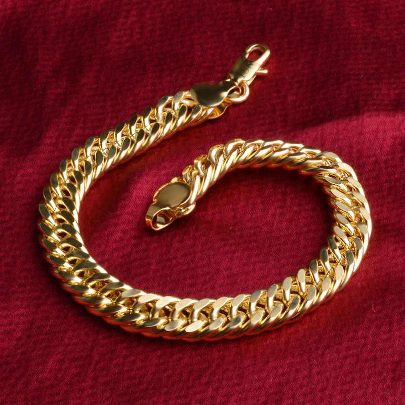 1 sztuk 8mm Big Chunky mężczyzna kobiet 585 złoty kolor podwójne Rolo ograniczenia splot bransoletki łańcuchy biżuteria 21 cm długi Pulseiras