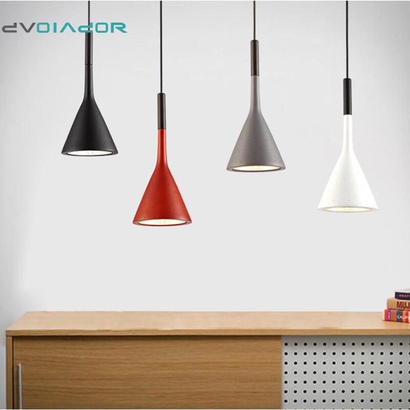 DVOLADOR Modern Art Pendant Lamps Led Painted Aluminum Classic Pendant Dining Room Light Modern Pendant Loft Cement Chandelier modern led conical pendant light aluminum
