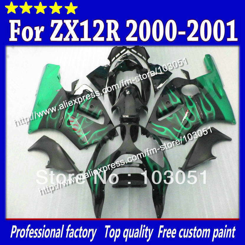 High grade for kawasaki ZX12R fairings 2000 ninja ZX12 fairing 2001 ZX-12R 00 01 green flame in glossy black SM17 power socket for 60 x smd 3528 led light strip white 2 flat pin plug ac 220v