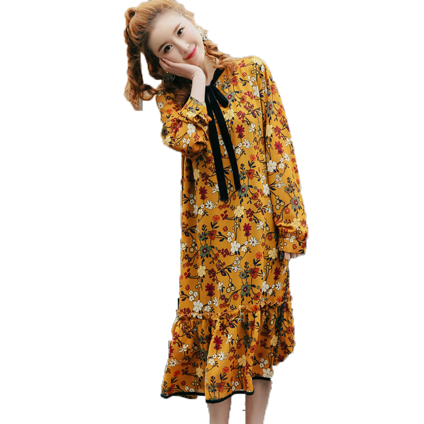 WAEOLSA Woman Crepe Chiffon Dress Women Bowknot Neck Design Shirtdress Lady Yellow Flower Shirt Dreses Girls Casual Robe Femme L