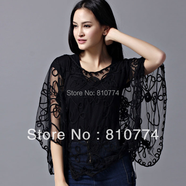 2017 clairvoyant outfit mantissas outerwear lace gauze cape cloak chiffon shirt female clothes free shipping