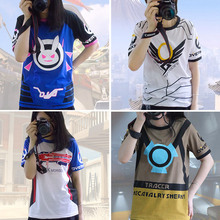2017 5 Types D.va T-Shirt Women D.va T-shirt Unisex Short Sleeve Dva T Shirt Mercy Tracer Soldier 76 Mccree Tees Cosplay