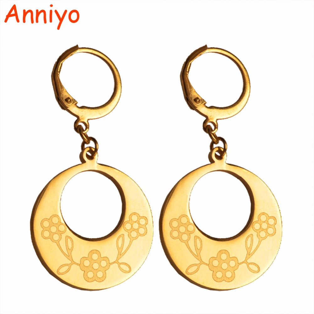 Anniyo Gold Color and Stainless Steel Flower Earrings for Women/Girl,Metel Jewelry Trendy Gifts #029921