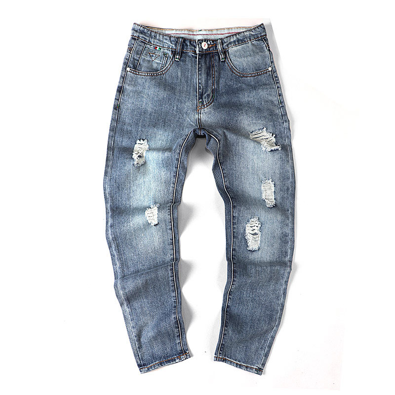 2018 Summer Thin Section Man Holes Easy Bound Feet Jeans Male Trend Nine Part Pants hip hop Fashion Rushed Favourite